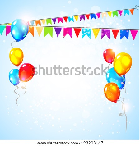 Holiday background with flags and balloons. Vector illustration - stock vector