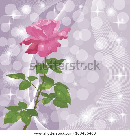 Holiday background with flower rose and abstract pattern. Eps10, contains transparencies. Vector - stock vector