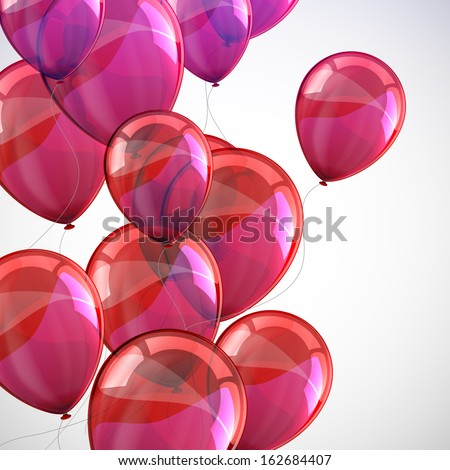 holiday background with flying red balloons  - stock vector
