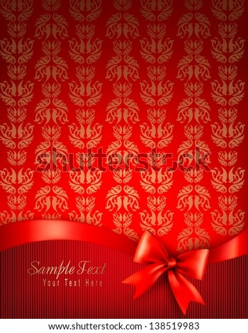 Holiday background with gift glossy bow and ribbon. Vector illustration. - stock vector