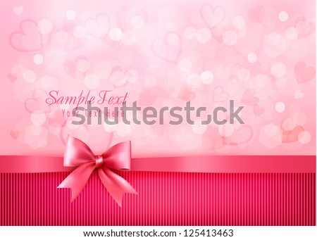 Holiday background with gift pink bow and ribbon. Valentines Day. Vector - stock vector