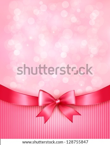 Holiday background with gift pink bow and ribbon. Vector - stock vector
