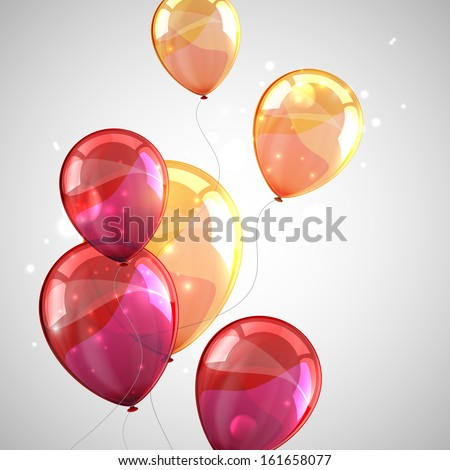 holiday background with multicolored balloons and sparkles - stock vector