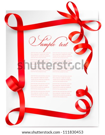 Holiday background with red gift bow with red ribbons. Vector - stock vector