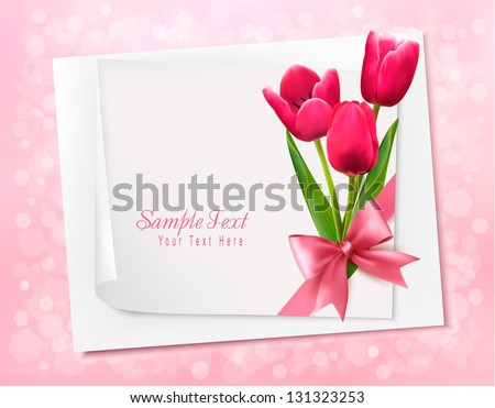 Holiday background with sheet of paper and flowers. Vector illustration. - stock vector