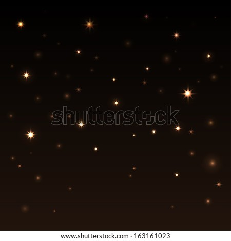 Holiday background with shiny stars in the dark sky.Starry sky.Black, brown, gold color- vector - stock vector