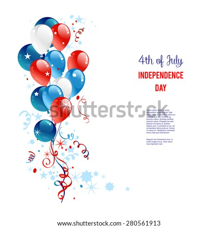 Holiday balloons. Place for text. Holiday patriotic card for Independence day, Memorial day, Veterans day, Presidents day and so on. - stock vector