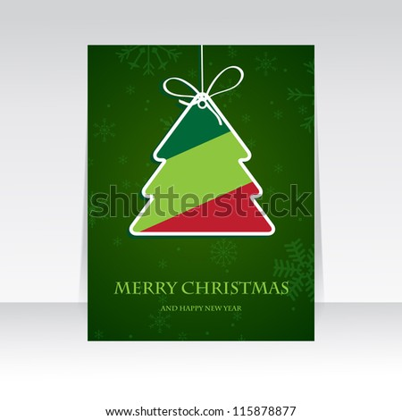 Holiday banner with striped christmas  tree. Retro christmas tree. Paper striped christmas tree on dark green snowflake background. Vector illustration for christmas poster, card, t-shirt or web. - stock vector