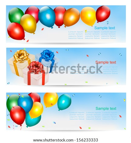 Holiday banners with colorful balloons and gift boxes. Vector. - stock vector