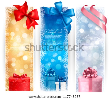 Holiday banners with colorful bows and gift boxes. Vector illustration - stock vector