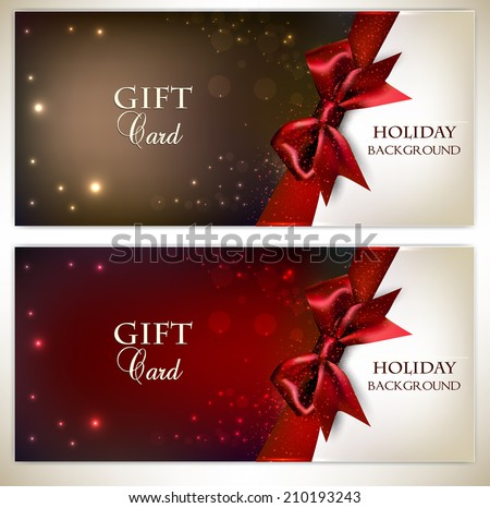 Holiday banners with red bows and copy space. Vector illustration - stock vector