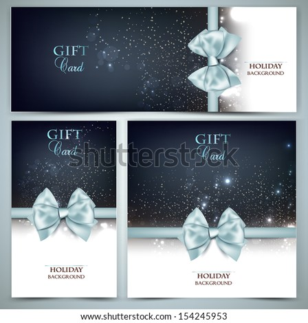 Holiday banners with ribbons. Vector background. - stock vector
