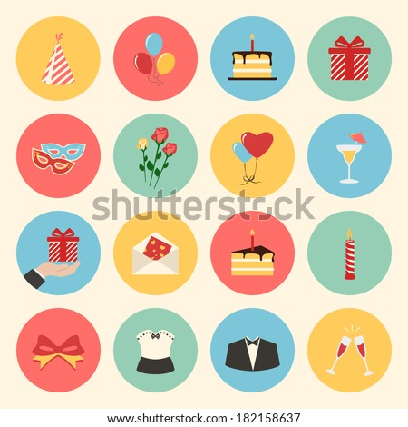 holiday birthday party colorful flat design icons set. template elements for web and mobile applications - stock vector