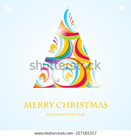 Holiday card with abstract christmas tree - stock vector
