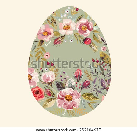 Holiday card with easter egg - stock vector