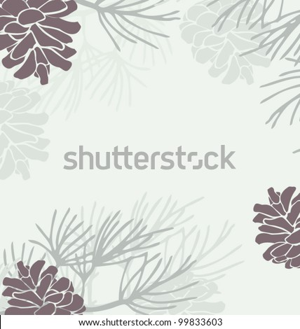Holiday Card with Pinecones - stock vector