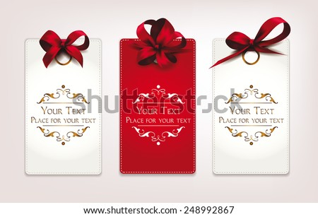 Holiday cards with red bows - stock vector
