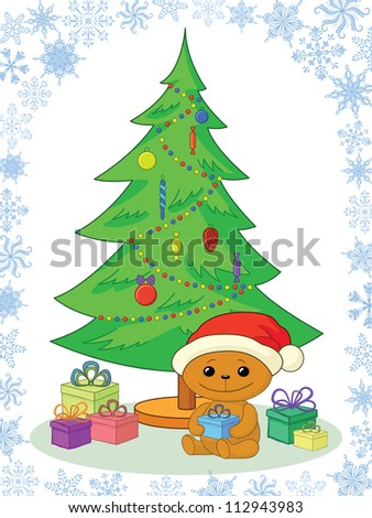 Holiday cartoon, teddy bear Santa Claus with gifts under the Christmas tree. Vector - stock vector