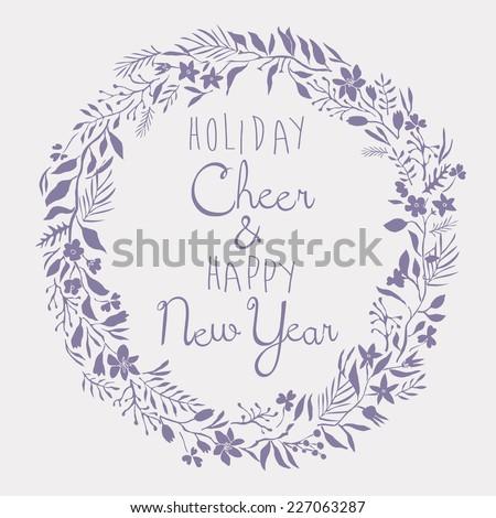 Holiday Cheer & Happy New Year Card - stock vector
