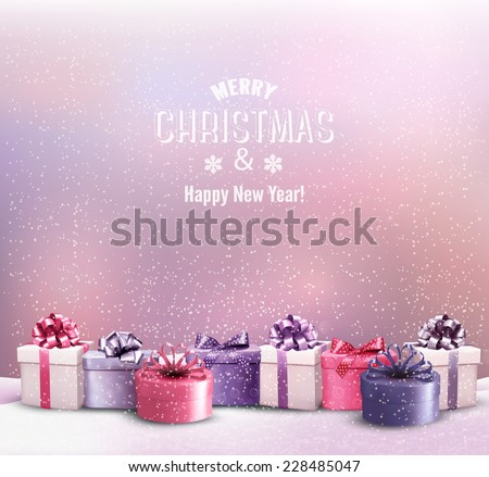 Holiday Christmas background with a border of gift boxes. Vector.  - stock vector