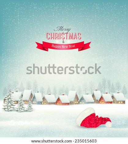 Holiday Christmas background with a village and a santa hat. Vector.  - stock vector