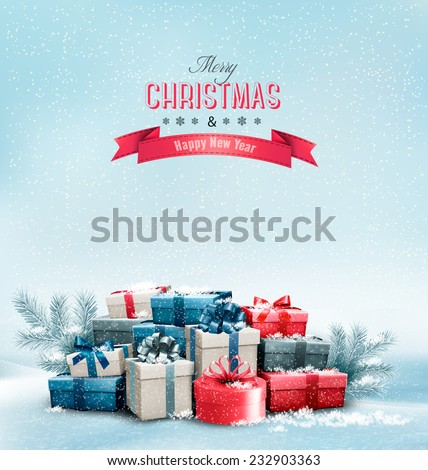 Holiday Christmas background with gift boxes. Vector.  - stock vector