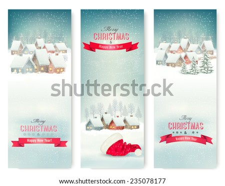 Holiday Christmas banners with villages. Vector.  - stock vector