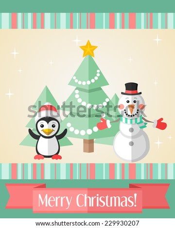 Holiday Christmas card with penguin and snowman and red ribbon - stock vector