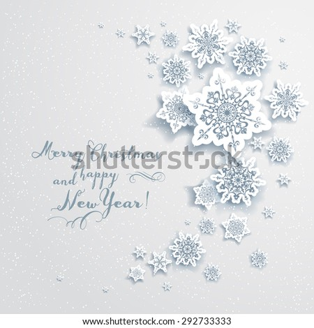 Holiday Christmas card with snowflakes. Elegant design for advertising, leaflet, cards, invitation and so on. - stock vector