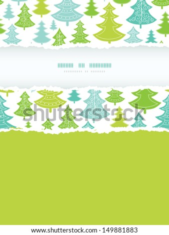 Holiday Christmas trees vertical torn frame seamless pattern background - stock vector