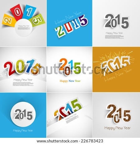 Holiday collection for Happy New Year 2015 beautiful greeting card illustration vector - stock vector