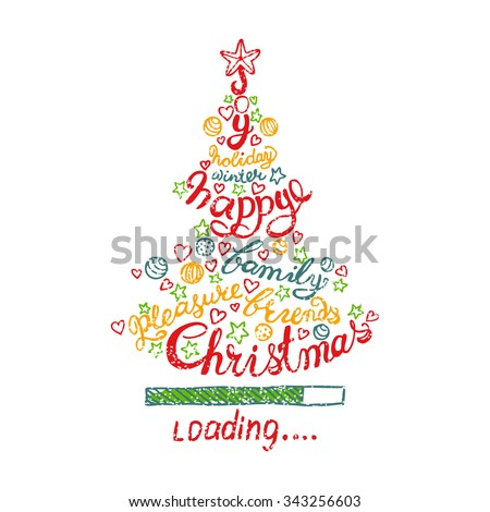 Holiday concept. Joy, holiday, winter, happy, family, friends, pleasure, Christmas. Colored Christmas tree with stars, balls and calligraphy inscription. Holiday template vector - stock vector