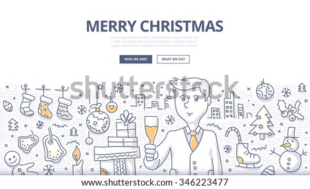 Holiday doodle concept of christmas with businessman toasting with champagne. Modern line style illustration for web banners, hero images, printed materials - stock vector