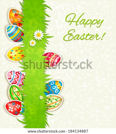 Holiday eggs on green grass. Easter background with place for text  - stock vector