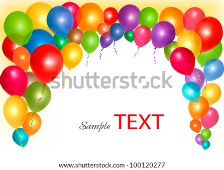 Holiday frame with colorful balloons with space for your text. Vector illustration. - stock vector