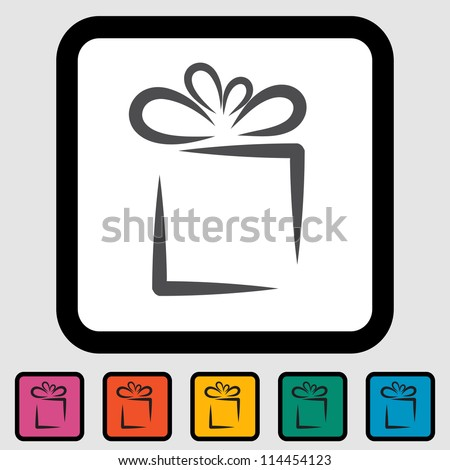 Holiday Gift Box Icon. Vector illustration EPS 8. - stock vector