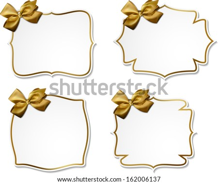 Holiday gift cards with golden ribbons and satin bows. Vector illustration. - stock vector