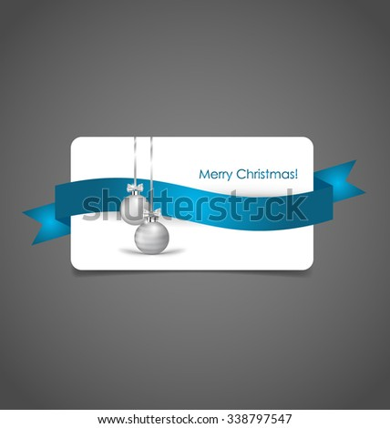 Holiday gift coupons with Christmas balls, vector illustration. - stock vector