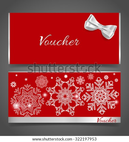 Holiday gift coupons with snowflake background, vector illustration. - stock vector