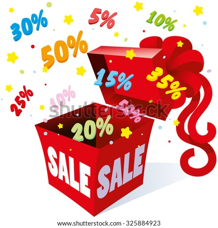 Holiday gift packaging box with bow from which the fireworks fly colorful symbols per cent for different sales and great deals for saving money, vector - stock vector