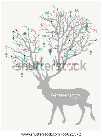Holiday greetings! Silhouette of deer with huge antlers decorated with lights and ornaments - stock vector
