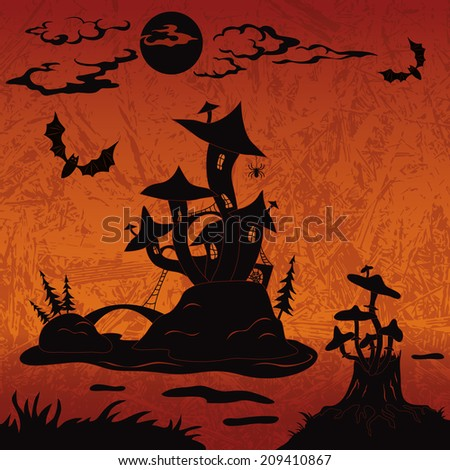 Holiday Halloween landscape with magic mushroom castle on the marsh island, moon, stump with toadstools and bats, black silhouette on abstract background. Vector - stock vector