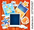 Holiday memories with photo frame, vector background - stock vector