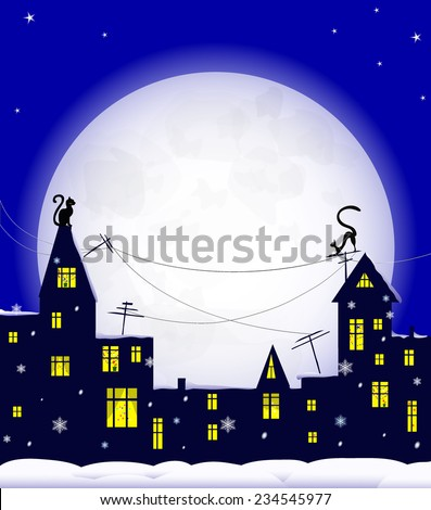 holiday night in old town, cats on roof, christmas decoration in windows, snowflakes and  snowdrift, big moon on blue sky, vector illustration - stock vector