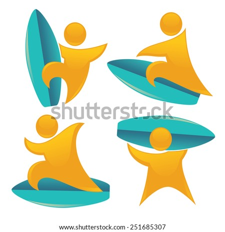 holiday on water, vector collection of summer activities - stock vector