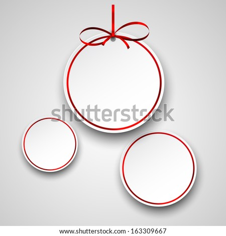 Holiday paper round labels. Christmas balls. Vector illustration.  - stock vector