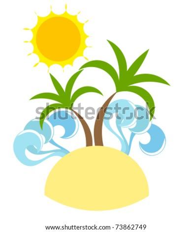 Holiday paradise. Desert island, palm trees and sun - stock vector