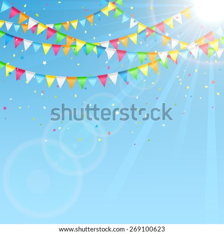 Holiday pennants and confetti on sky background, illustration. - stock vector