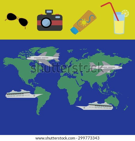 Holiday planning for a trip concept - stock vector
