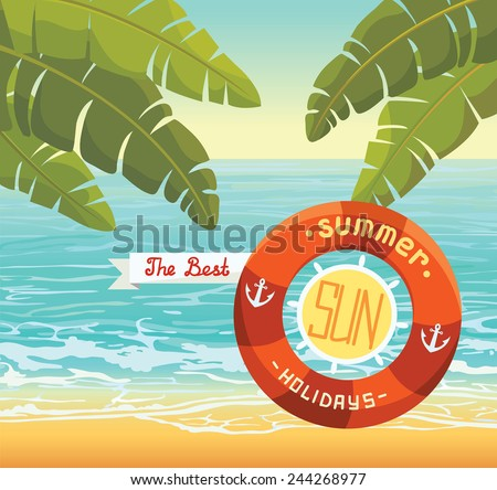 Holiday postcard with blue sea, beach and banana leaves. - stock vector